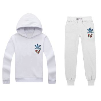 ADIDAS Women Men Top Sweater Pullover Hoodie Pants Trousers Set Two-Piece-7