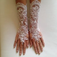 Long Lace wedding glove free ship ivory wedding prom party special occasion gift wedding french lace gauntlets bridal cuff lace wedding