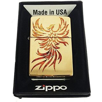 Zippo Custom Lighter - Flying Fire Bird Flaming Phoenix Spiritual Logo Fuzion - High Polish Brass