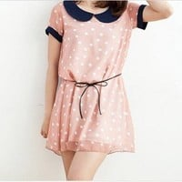 Vintage Collar Polka Dots Dress With Hide Rope Pink-Wholesale Women Fashion From Icanfashion.com