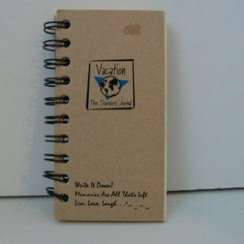 Vacation The Travelers Journal  MINI Kraft Brown with Hard Cover prompts on every page recycled paper read more