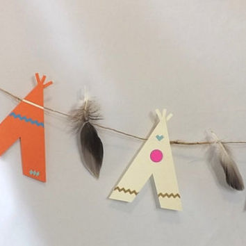 Tribal Teepee & Feather Garland, Tee Pee Party Banner, Birthday Table Decor, Backdrop or Photo Prop, Die Cut Camping Decoration