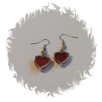 Cooper red gemstone heart dangle earring