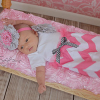 Pink chevron and peony newborn baby gown and by StorkNestDesigns