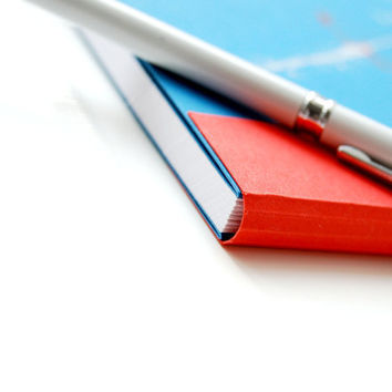 Red and blue handbound blank journal