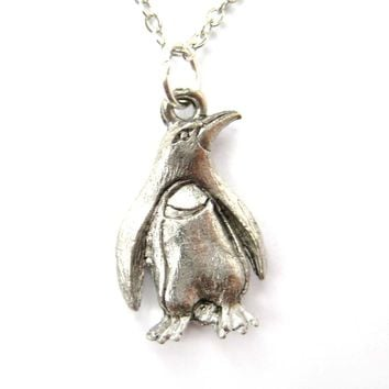 Realistic Penguin Bird Shaped Animal Charm Necklace in Silver | MADE IN USA