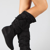 Candies-06 Knotted Suede Slouchy Wedge Boot