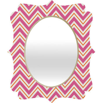 Caroline Okun Berry Pop Chevron Quatrefoil Mirror
