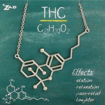 Chemical Reaction THC Molecule Necklace