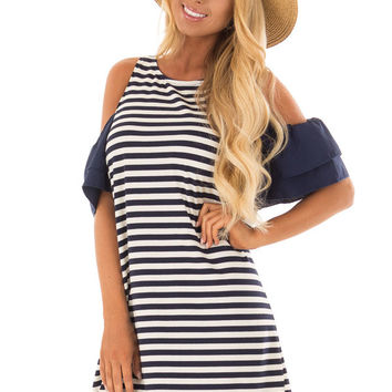 Navy and White Stripe Cold Shoulder Dress