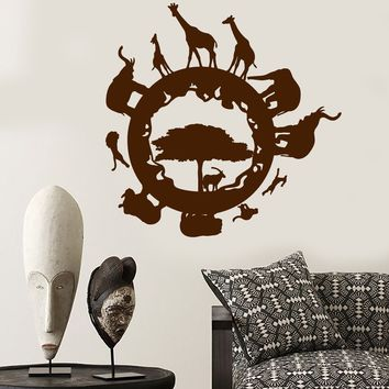 Vinyl Wall Decal Africa Country Animals Tree Elephant Giraffe Stickers (2713ig)