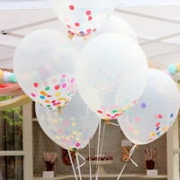 Clear Confetti Balloon Bouquet Set of 10 with Handmade Tassels