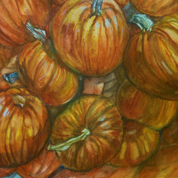 "Original Painting of Piled Orange Pumpkins in Water Color, Large Wall Art, Original Watercolor Painting, Art with Autumn Colors, 18"" x 24"""