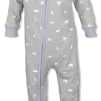 Baby Pajamas Grey Animals Organic Cotton Zipper Sleeper- Gender Neutral