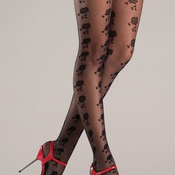 Floral Print Stay Up thigh High Stockings