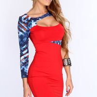 Red Blue Patriotic One Long Sleeve Sexy Bodycon Dress