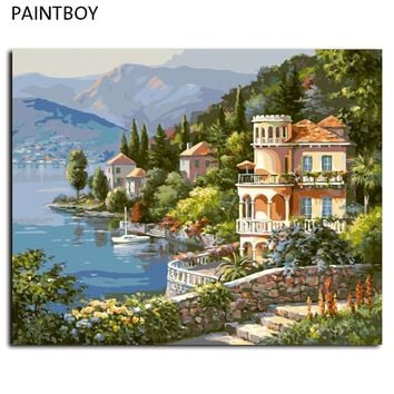 PAINTBOY Seascape DIY Painting By Numbers Framed Pictures Digital Canvas Oil Painting Home Decoration For Living Room G347