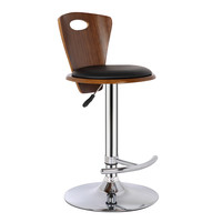 Armen Living Seattle Barstool in Chrome finish with Black Pu and Walnut Back