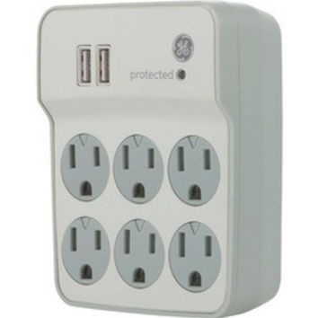 Ge 6-outlet Surge Protector Wall Tap With 2 Usb Ports (pack of 1 Ea)