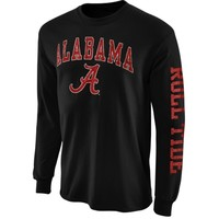 Mens Alabama Crimson Tide Black Arch & Logo Long Sleeve T-Shirt
