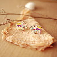 Cute Rainbow Color Elephant Earring