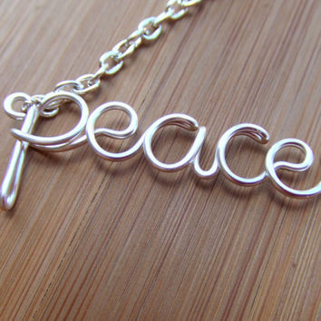 Peace Necklace Wire Word Necklace Personalized Jewelry Teen Jewelry Teen Gift Hippie Peace Necklace Wire Wrapped Jewelry Gifts Under 20
