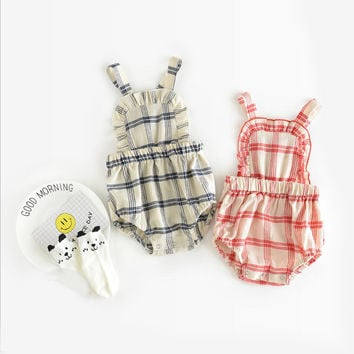 Baby Girl Clothes Summer Ruffled Sleeves Vintage red/Blue White Plaid Baby Romper Newborn Toddler Kids Jumpsuit daily Outfits