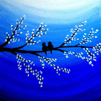 Valentine's Day Decor Love birds Acrylic canvas painting Birds on tree quotes painting Love birds sayings Lovers gift