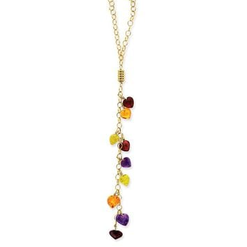 14k Gold Multi-color Heart Gemstones Necklace