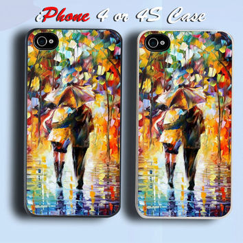 Couple In The Rain Oil Painting Style Custom iPhone 4 or 4S Case Cover