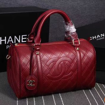 HCXX 19Aug 109 8934 Fashion Large-capacity Embossing Barrel Duffel Bag 32-25-20CM Red