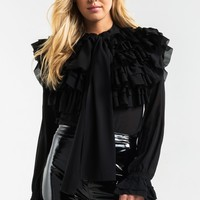 AKIRA Black Label Pussybow Button Down Frill Sleeve Ruffle Front Lightweight Semi Sheer Blouse in Black, Burgundy