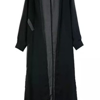 Black Sheer Chiffon Open Side Slit Long Cardigan