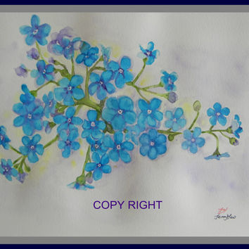 Original water color painting, blue flower 10x8 in, blue, purple, flower painting