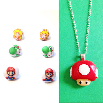 Handmade Polymer Clay Toad Necklace with choice of Mario, Yoshi, or Princess Peach earrings - Available as a Set or Separately