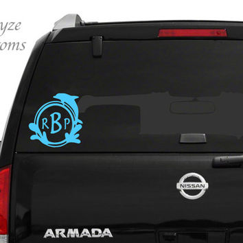 Dolphin Monogram/ Car/Computer vinyl decal/ Put Initials in the order you want them from right to left in NOTE TO SELLER