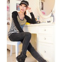 Women Autumn Long Sleeve Scoop Bead As Picture Cotton T-shirt One Size @WH0378ap $10.99 only in eFexcity.com.