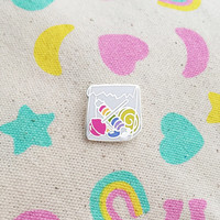 10p Mix Up Enamel Pin Badge - Bag of Sweets - Lapel Pin - Tie Pin