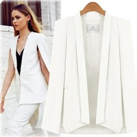Cape Blazer Women's jackets White Black blazers women Split Poncho Blazer pink Shawl Collar Blazer femenino Office suits jacket