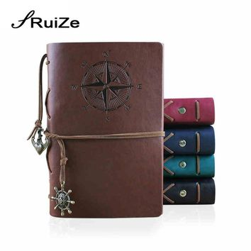 RuiZe Hot sale vintage travelers notebook sketchbook A6 leather journal note book with blank pages kraft paper can be refilled