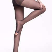 Open-Toe Semi-Sheer Tights