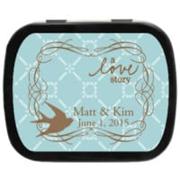 A Love Story Personalized Wedding Mint Tins, vintage inspired design for candy favors at weddings, engagements, parties, and more!