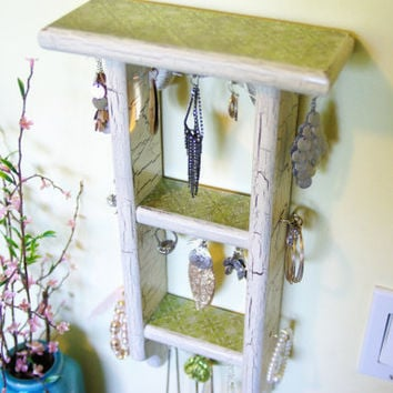 Cottage Chic Jewelry Display/Necklace/ Earing Display Hanger Decorative/ antiqued/ shabby chic/ Green Print