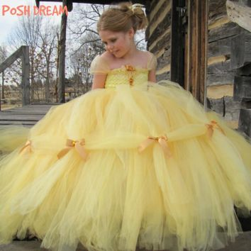 POSH DREAM Beauty and The Beast Belle Princess Girls Cosplay Costume Yellow Gold Belle Princess Children Girls Tutu Dresses