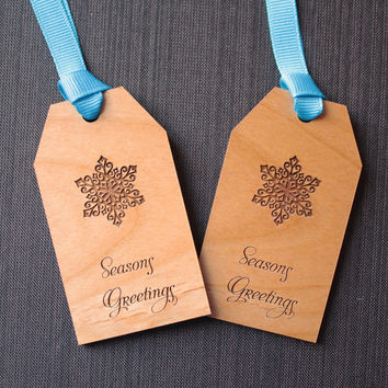 Snowflake Christmas Wood Gift Tags - Seasons Greetings (Set of 6)