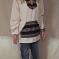 Bohemian Cream and Brown Hooded Aztec Blanket Jacket, Ethnic Southwest Jacket