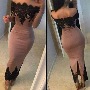 2017 New Sexy Blush Off The Shoulder Full Sleeves Ankle-Length Mermaid Evening Dress With Lace Appliques Behind Split Prom Dress