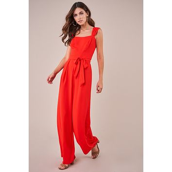 Red Wide Leg Jumpsuit