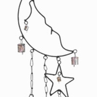 "Benzara 31""H Rustproof and Durable Beautiful Metal Moon Star Wind Chime"