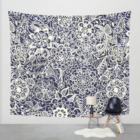 Lace on Nautical Navy Blue Wall Tapestry by Tangerine-Tane